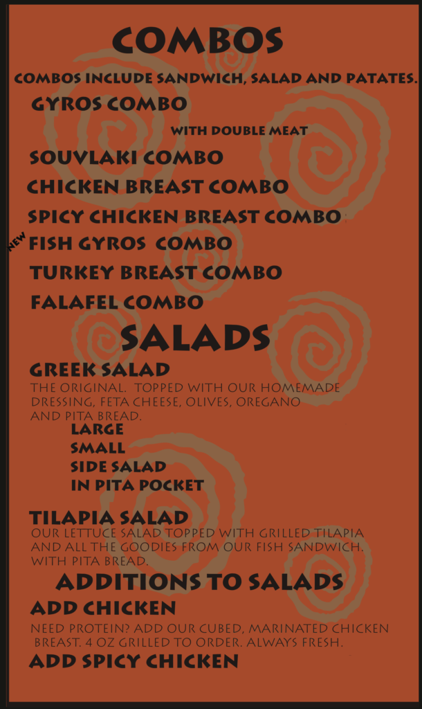 Greek and Middle Eastern Food Albuquerque Menu Combos